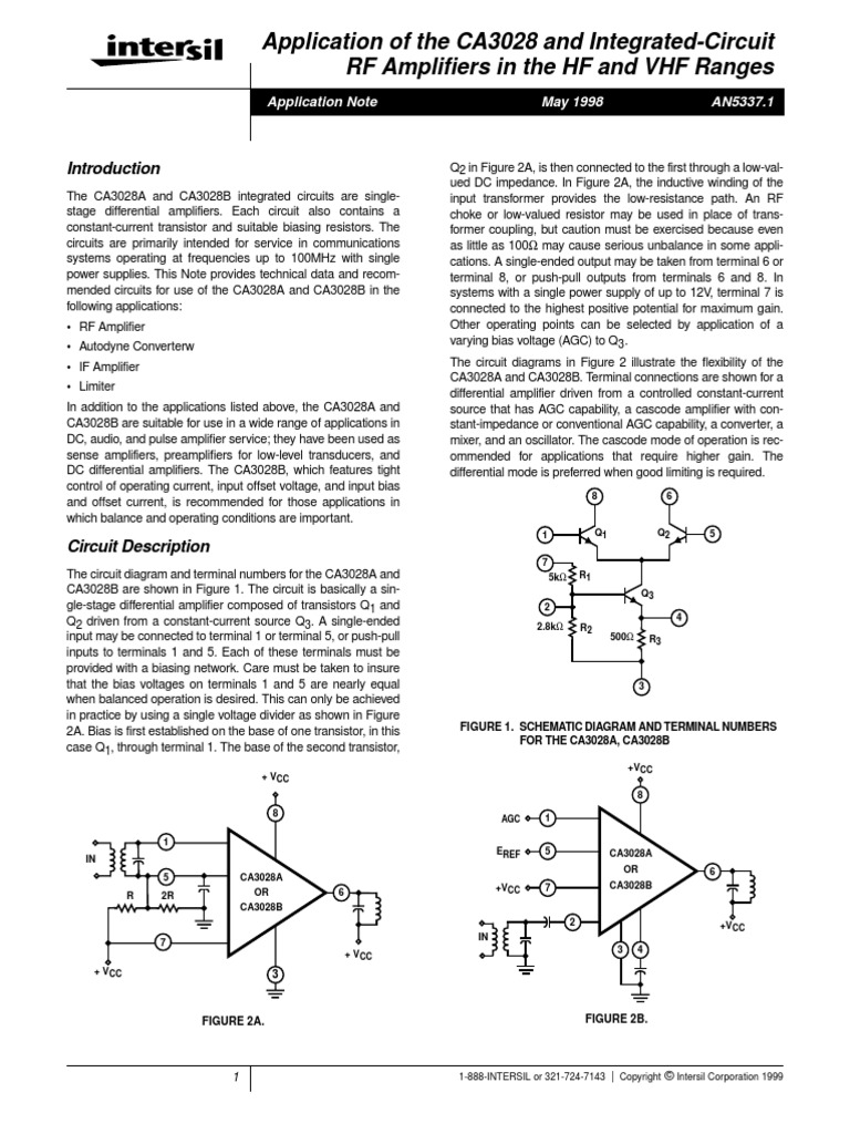 Amp Ca3028 Intersil Amplifier Electronic Filter Lm380 Audio Circuits Circuit
