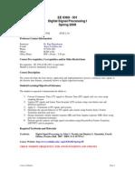UT Dallas Syllabus for ee6360.501.08s taught by P Rajasekaran (pkr021000)