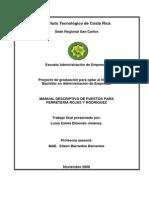 Manual Descriptivo de Puestos Para Ferreteria Rojas y Rodriguez