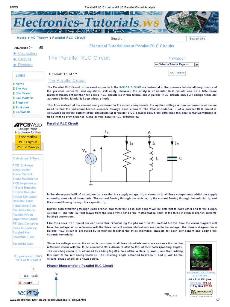 Parallel Rlc Circuit And Analysis Electrical Pure Series Formula For Connected Resistor Impedance Circuits