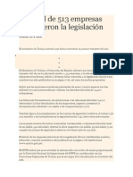 Un Total de 513 Empresas Infringieron La Legislación Laboral