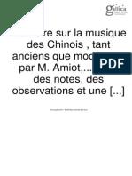 Memoire Sur La Musique Des Chniois. M Amiot.