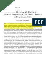 Creatio Continua Ex Electione