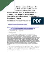 Ley Nº 27157, Tuo Del Reglamento Ds 035-2006-Vivienda