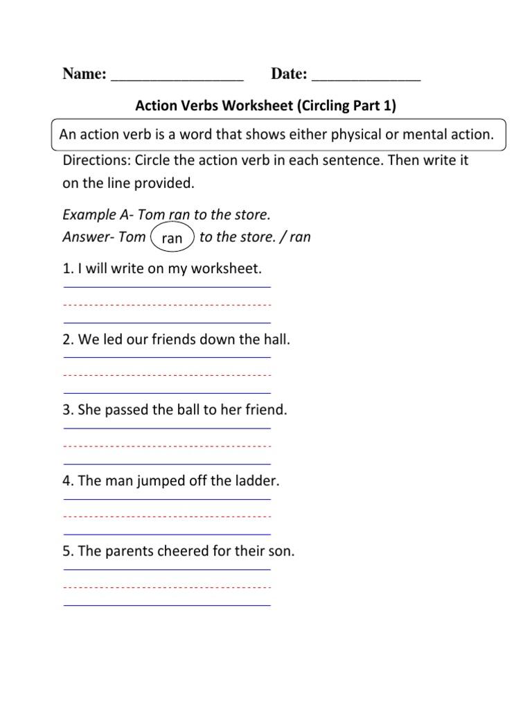 Action Verbs Circling Beginner [ 1024 x 768 Pixel ]