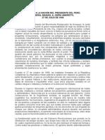 Mensaje a La Nacion Del Presidente Manuel Odria - Julio 1949