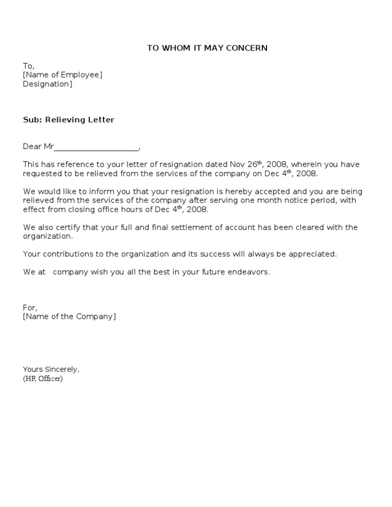 Relieving Letter Experience Certificate Format.  1522726687 v 1