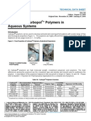 Viscosity of Carbopol * Polymers in Aqueous Systems: Technical Data