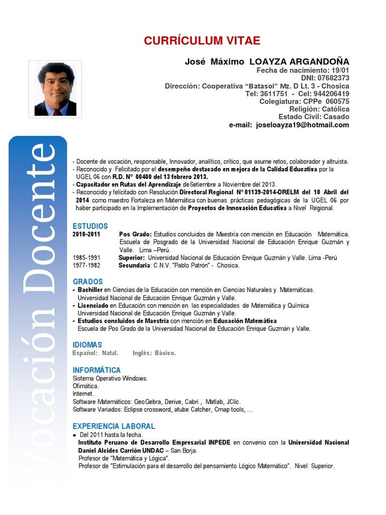 Lujoso Patrón De Currículum Para Profesores Patrón - Ejemplo De ...