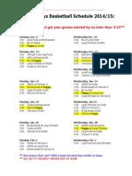 schedule grade 8 boys 2014-15