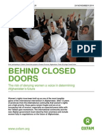Behind Doors Afghan Women Rights- Oxfam Report