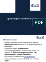 Oportunitățile de studiere în Slovacia