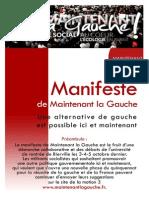 Manifeste de Maintenant La Gauche Pour Une Alternative a Gauche Ici Et Maintenant