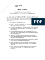 Recommendations to enhance the financial security of persons with special needs, Press Release, 25 Oct 2006