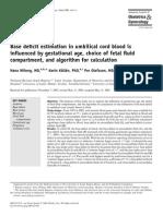 Base Deficit Estimation in Umbilical Cord Blood