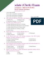 Sbi Online(Clerk) 7-10-2012