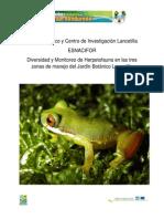 Diversidad y Monitoreo de Herpetofauna  en Jardin Botanico Lancetilla