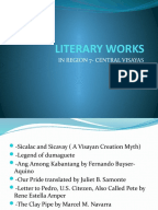 literature of region 7 R e g i o n   vii central visayas prepared by: angcon, van vinncent s,  rublica, abigael  cities: 2 componentcities:7  in music,  painting, dance, literature, theatre, sculpture, and most recently the.