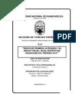 Tesis Renta de Primera Categoría y El Deficit Fiscal, En El Distrito de Huancavelica, Periodo 2013