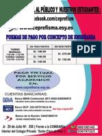 FORMAS DE PAGO POR SERVICIO ACADÉMICO  CEPRE-FISMA