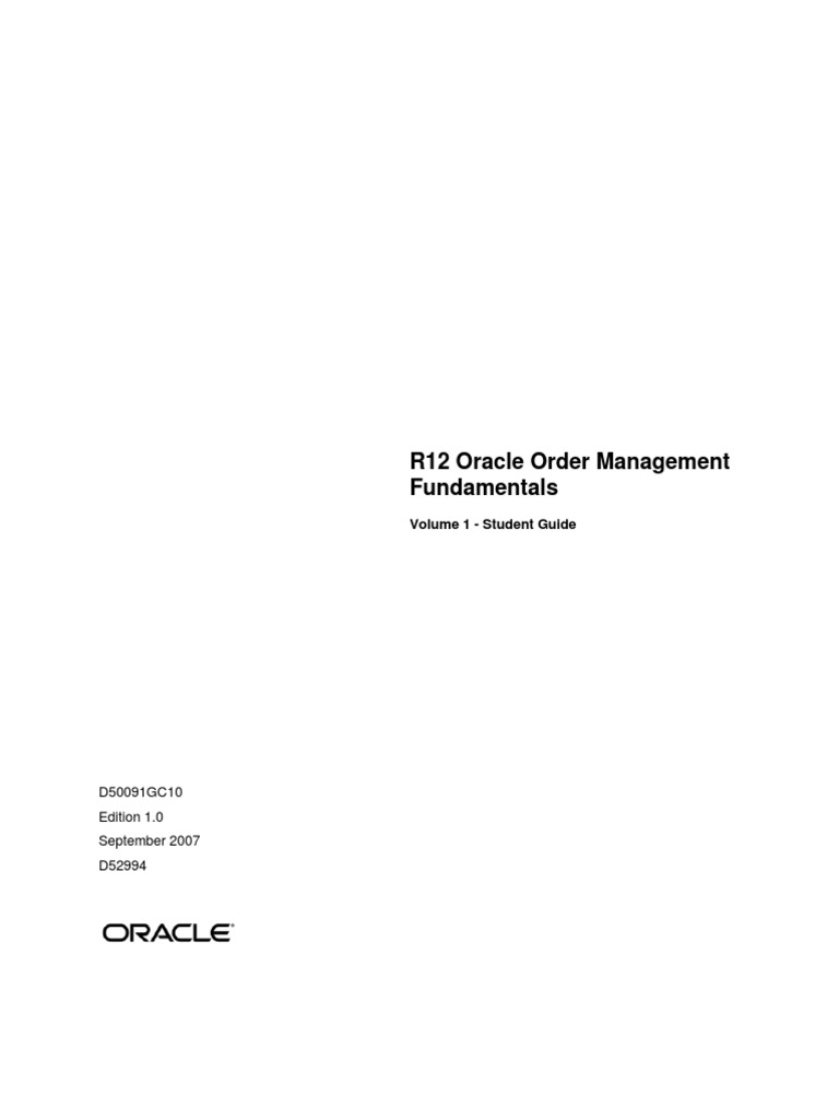 oracle om student guide oracle corporation sales rh scribd com r12 oracle order management fundamentals student guide r12 oracle inventory management fundamentals student guide