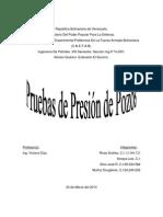 Informe de Pruebas de Presión de Pozos