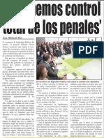 12-11-2014 'No tenemos control total de los penales'
