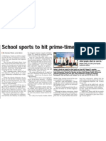 National School Sports Championships to air on MediaCorp Channel 5, 22 Jan 2009, Straits Times