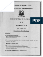 Common Entrance Examination 2011 Mathematics