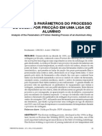 ANÁLISE DOS PARÂMETROS DO PROCESSO DE SOLDA POR FRICÇÃO EM UMA LIGA DE ALUMÍNIO
