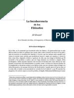 Algazel - La Incoherencia de Los Filósofos - Traducción Original de FHUCE - Uruguay