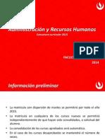 Administración y Recursos Humanos Estructura Curricular 2015