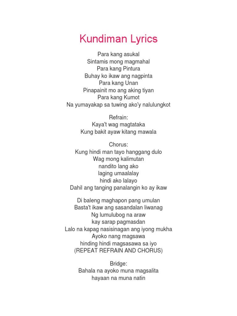 Kundiman Lyrics {Ed Wynn}
