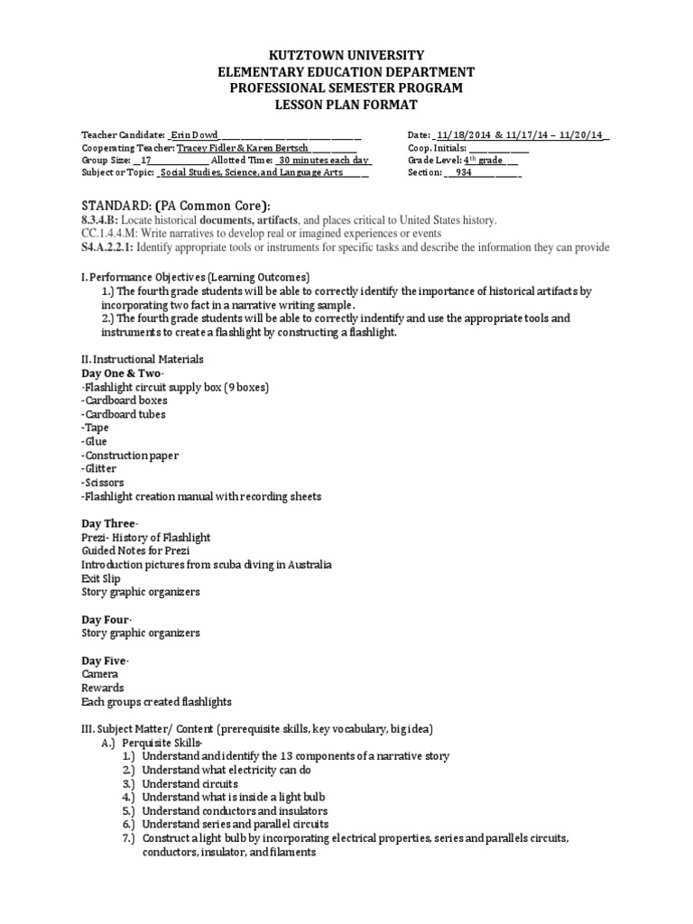 Lesson Plan History Artifacts And Health And Safety Officer Cover - Lesson plan template australia