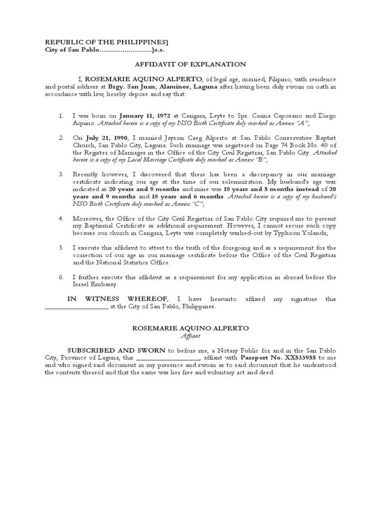 Affidavit of Explanation – Sample Sworn Affidavit