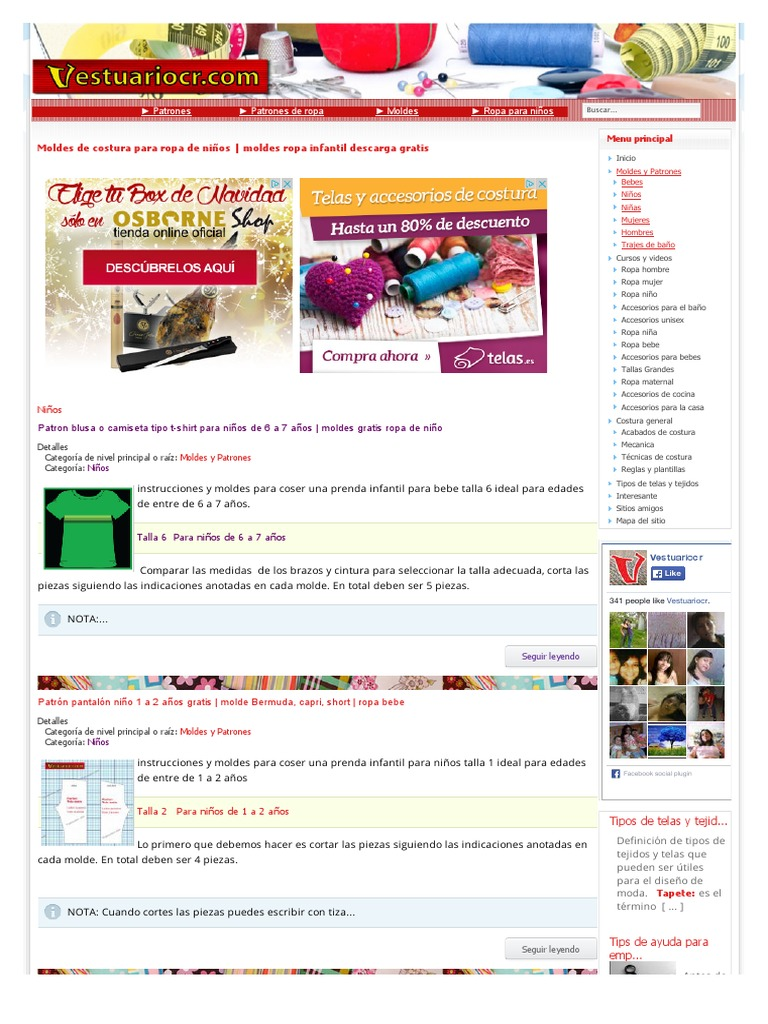 2 Moldes de costura para ropa de niños | moldes ropa infantil ...
