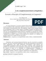 Hacia Un Principio de Complementariedad en Linguística