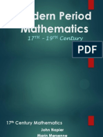 Modern Period (17th-19th Century) on Mathematics