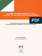 Journée de Lutte Contre Les Violences Faites Aux Femmes, Le MENESR Agit