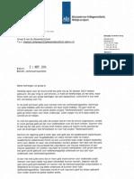 Brief Ministerie van Volksgezondheid