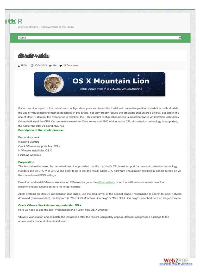 Mac Os x Instruction & Website   Mac Os   V Mware