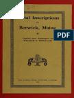 Berwick, Maine Burial Inscriptions