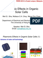 Plasmonic Effects in Organic Solar Cells