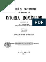 Nicolae Iorga - Studiĭ Și Documente Cu Privire La Istoria Romînilor. Volumul 22 - Documente Interne