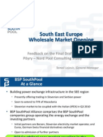 South East Europe Wholesale Market Opening, Feedback on the Final Draft of Pöyry–Nord Pool Consulting Study