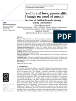 Effects of Brand Love Personality and Image on Word of Mouth
