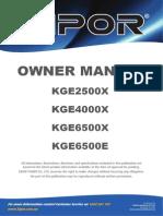 Gasoline generator Kge2500x Manual En