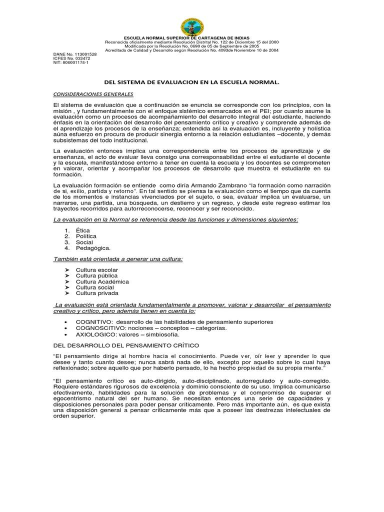 sistema de evaluacion en la escuela normal superior de cartagena de ...