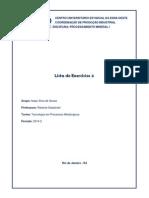 Lista de Exercícios Processamento Mineral I