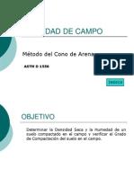 Densidad de Campo Método Del Cono de Arena